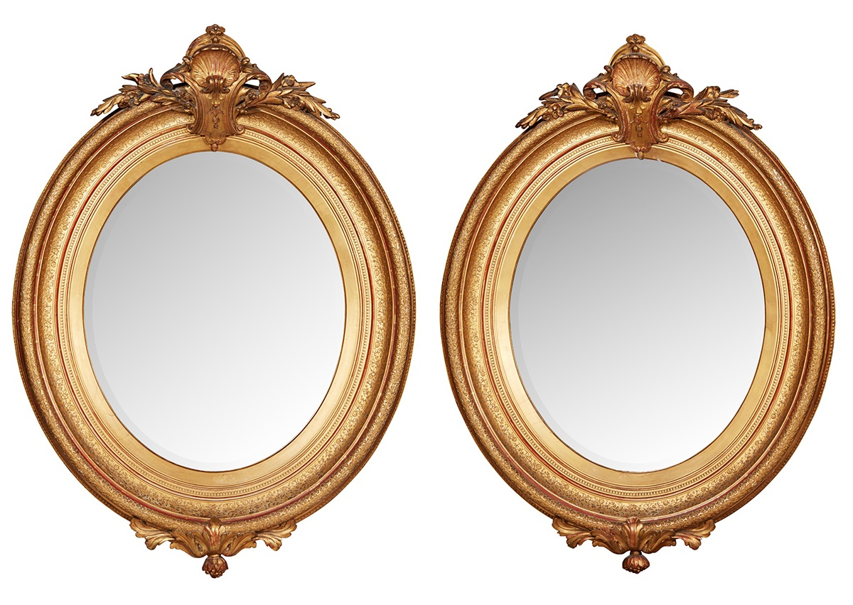 PAIR OF GILTWOOD AND GESSO MIRRORS 19TH CENTURY